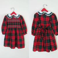 Little Girls Plaid Dress Pintucked Long Sleeves Christmas Party Size 4T