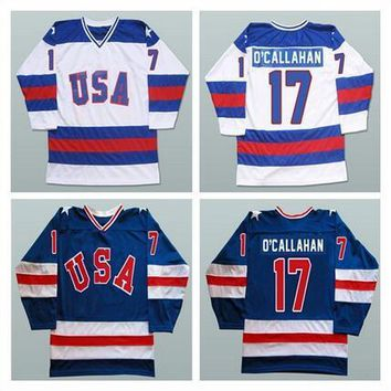 #17 Jack O'callahan 1980 USA Hockey Jersey Olympic Stitched 1980 Miracle On Ice Hockey Jersey Navy/White