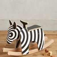 Wooden Rocking Zebra by Anthropologie in Black Size: One Size Gifts