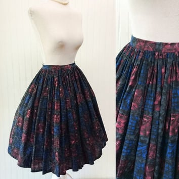 Cait skirt // 1950s grey black blue magenta abstract modernist print cotton FULL circle midi // metal zipper // size XS