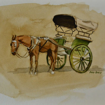 Horse Carriage Painting Watercolor India 9x12 by BohemianHabits