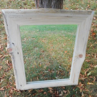 Live Edge Framed Mirror - Wall Mounted Mirror & Frame - Bathroom Mirror - Rustic Cottage Mirror - Rustic Cabin Mirror - Natural Edge