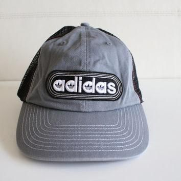 Vintage Adidas Snapback Cap Hat Embroidered Mesh Back Cap Gray Trefoil Rare 90s Deadst