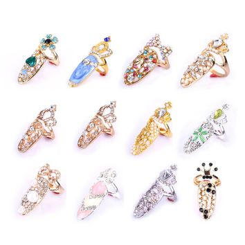 Fashion Finger Nail Art Design Ring Jewelry Crown Crystal Fake Nails for Women