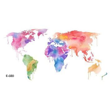 WYUEN Colorful World Map Temporary Tattoo Sticker for Women Body Art Fake Men Tatoo E-020