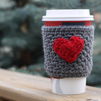 Made to Order Crochet Coffee Cup Cozy / Sleeve - Grey with Small Red Heart