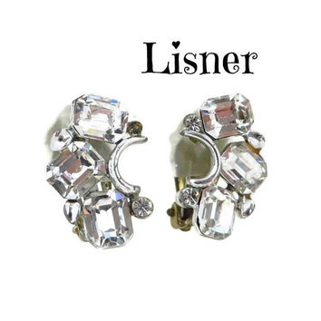 Lisner Rhinestone Bridal Earrings, Vintage Curved Rhinestone Silver Tone Clip-on Earrings, FREE SHIPPING