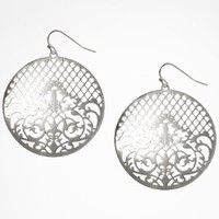 FILIGREE DISC DROP EARRINGS