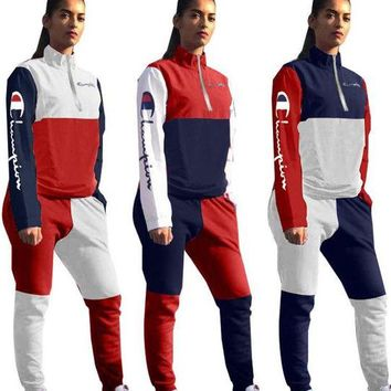 Champion Tide brand embroidery letter stitching female casual sports suit two-piece