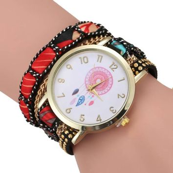 Vintage Rivet Braided Quartz Watch Ladies Dream Catcher Pattern Dial Wrist Watches Women Leather Winding Wrap Bracelet Watch #LH