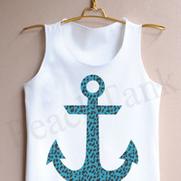 Racer tank with Blue ANCHOR - Tank Top , Tank , Cute Tank Top , Bule anchor Tank Top , Anchor Tank Top