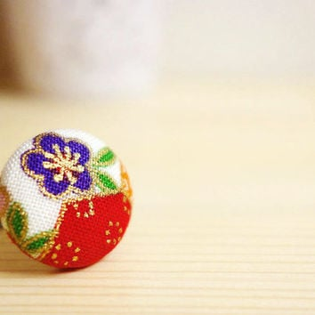 Ume Kimono Ring, Japanese plum blossom red purple cotton, covered button adjustable ring - MANGETSU