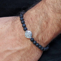 Men's beaded bracelet, men's lava bracelet, men's black bracelet, jewelry for man, trendy jewelry, gift for man, free shipping