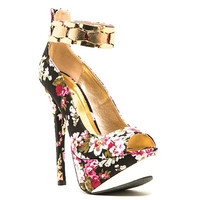 Count-76 Black Floral Peep toe Platform Pump Stiletto Heel