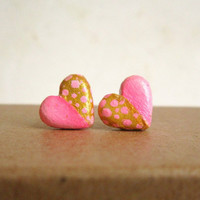 Pink earrings, Heart stud earrings, Pink and gold polka dot post earrings, polymer clay. Bridesmaid