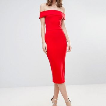 Oh My Love Tall Bardot Midi Dress at asos.com