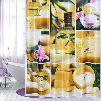 Fabric Polyester  ZEN GARDEN Stone Flower Candle Flower Waterproof Thicken Shower Curtains Bathroom Shower Curtains 180x180cm