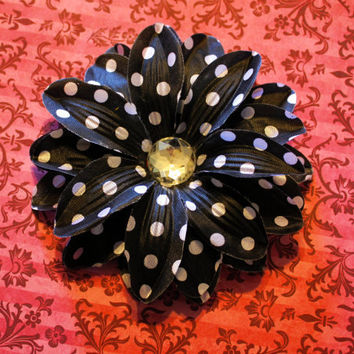 Vintage Inspired Black & White Polka Dot Lily Flower Hair Clip