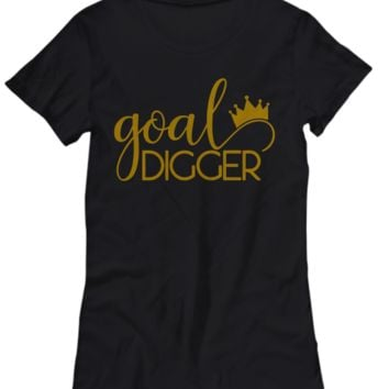 Goal Digger Gold on Black Women's T-Shirt