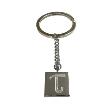 Silver Toned Etched Greek Letter Tau Pendant Keychain