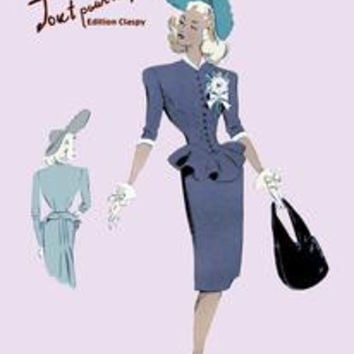 Classy Suit Dress with Hat and Bag: Fine art canvas print (12 x 18)