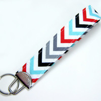 Chevron Key Rob Wristlet - Fabric Key Fob Wristlet - Chevron Key Wristlet - Cotton Key Wristlet - Use the Ready to Ship Coupon