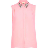 Pink embellished collar sleeveless shirt
