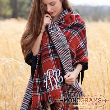 Monogrammed Double Sided RED Tartan Plaid Houndstooth Blanket Scarf Wrap  Font Shown MASTER CIRCLE in White