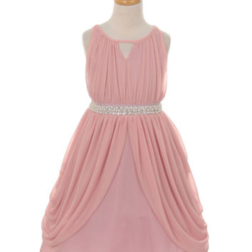 Dusty Rose Chiffon Gathered Dress with Pear Belt