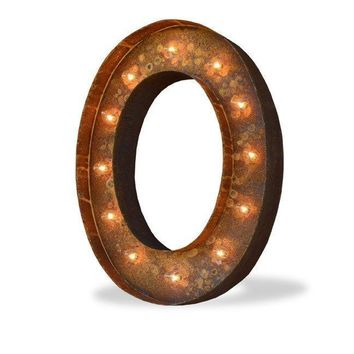 """24"""" Letter O Lighted Vintage Marquee Letters (Modern Font/Rustic)"""