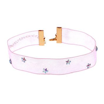 Lavender Pastel Goth Crystal Star Lace Chokers Collar Necklaces Choker for Women