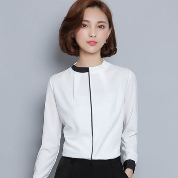 White Black Pathwork Shirt Women Long Sleeve Tops 2016 Elegant OL Chiffon Slim Shirts Work Wear Office Blouse Blusas Feminina