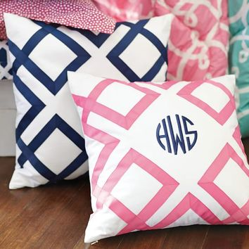 Lattice Monogram Pillow Covers