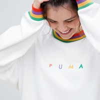 Puma Plus Exclusive Organic Cotton Rainbow Sweatshirt In White at asos.com
