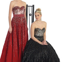 Prom Long Strapless Sweetheart Hand Beaded Sequins Chiffon Ballgown Formal Dress
