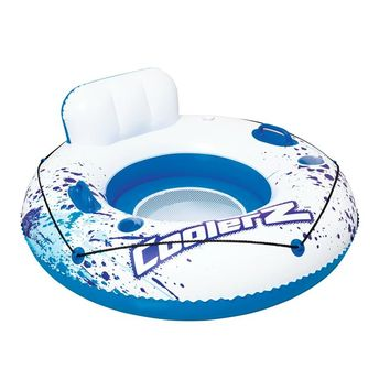 Dia 120cm Inflatable Luxury Swin Tube With Backrest 2-Cup Holders Swimming Ring Pool Float Air Mattress Pool Water Fun Raft