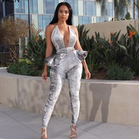 VAZN Autumn 2018 High Quality Sexy Women Backless Skinny Long Jumpsuits Solid Sleeveless Halter Lady Ruffles Jumpsuits LO6142