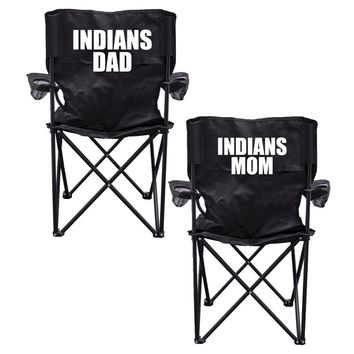 Indians Parents 2 Black Folding Camping Chair Set of 2 with Carry Bags
