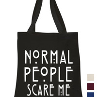 Normal People Scare Me Tote ECO canvas shoulder school picnic book hand bag | eBay
