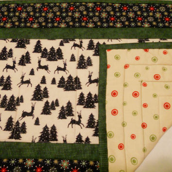 Winter Quilted Table Runner,  Christmas Quilted Table Runner, Woodland Quited Table Topper, Christmas Trees, Reindeer, Evergreen, Pine Trees