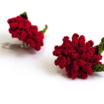 Red Rose Crochet Clip On Earrings - Fibert Art Jewelry - Textile Statement Jewelry - Ottoman Tile Motif