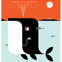 Time the dark whale Art Print by LouLou & Tummie