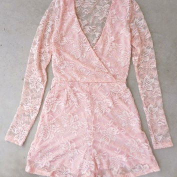 Blush Pink Lace Party Romper