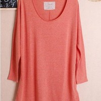 Candy Casual Long Sleeve Autumn Orange Cotton Women Blouse One Size@WH0041o $7.89 only in eFexcity.com.
