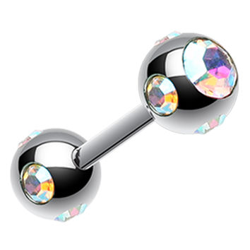 Double Aurora Glass-Gem Ball 316L Surgical Steel Cartilage Tragus Barbell