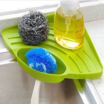 Kitchen Corner Sponge Holder Wall Mounted Dishes Storage Rack