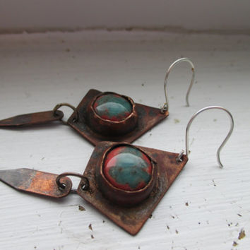 Sterling Silver, Copper, Dangle Earrings, Jade, Coral, Jewelry, Handmade Jewelry by Slaff Crafts on Etsy.