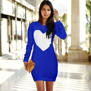 Casual Dress Women Long Sleeve Printed Heart Mini Party Dresses Blue Pink Party Dress Plus Size Women Clothing LJ7396T