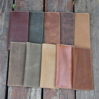 simple handmade genuine leather card hold wallet purse random cool gift 38