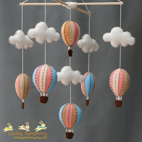 Vintage peach and blue baby mobile - peach and blue baby mobile